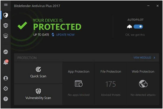 bitdefender antivirus 2017 main screen