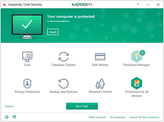 kaspersky total security 2018 main window