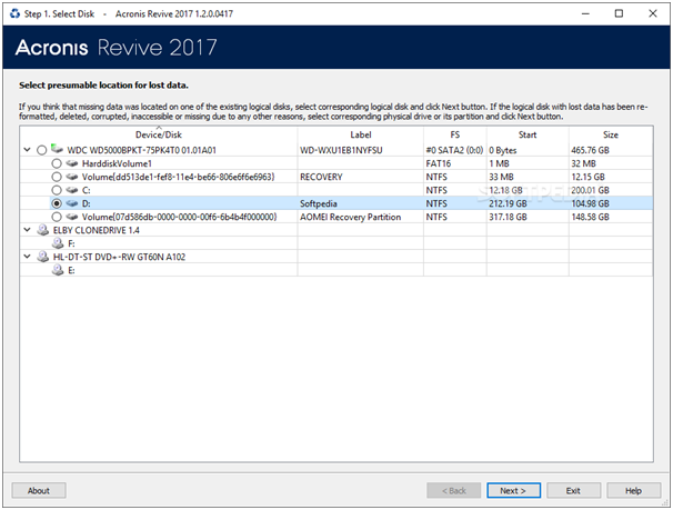 Acronis Revive 2017 select disk to restore