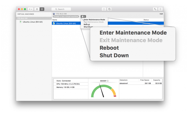 vmware fusion 10 maintenance mode