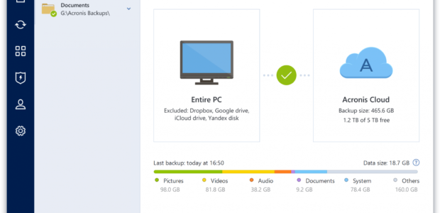 Acronis True Image 2018 PC backup window