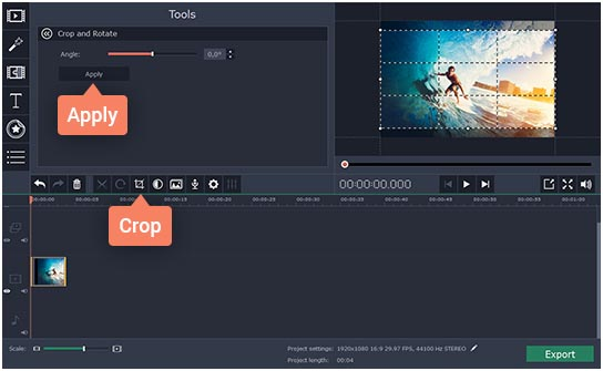 Movavi how to cut video 2 screen