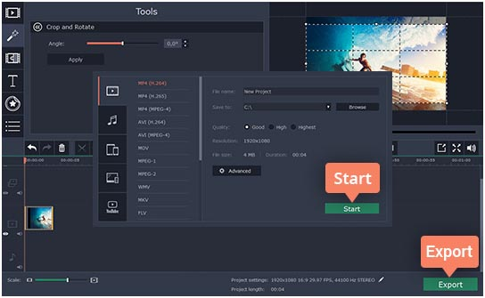 Movavi how to cut video 3 screen