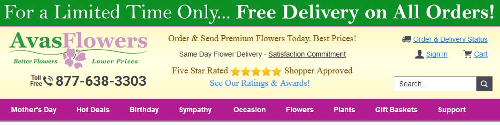 AvasFlowers Online Flower Store Review
