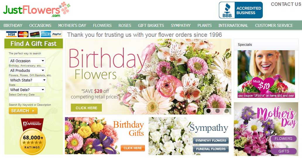 Justflowers Online Store Review