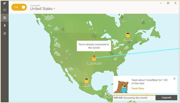 TunnelBear VPN USA Connection